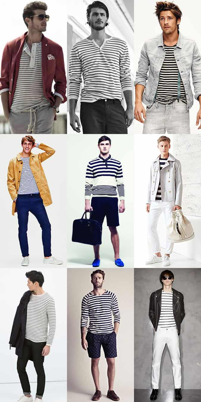 Men's Breton Stripe Tops - Outfit Inspiration Lookbook