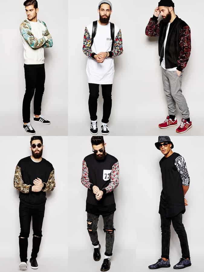 Men's Printed Sleeve Outerwear and Sweatshirts Outfit Inspiration Lookbook