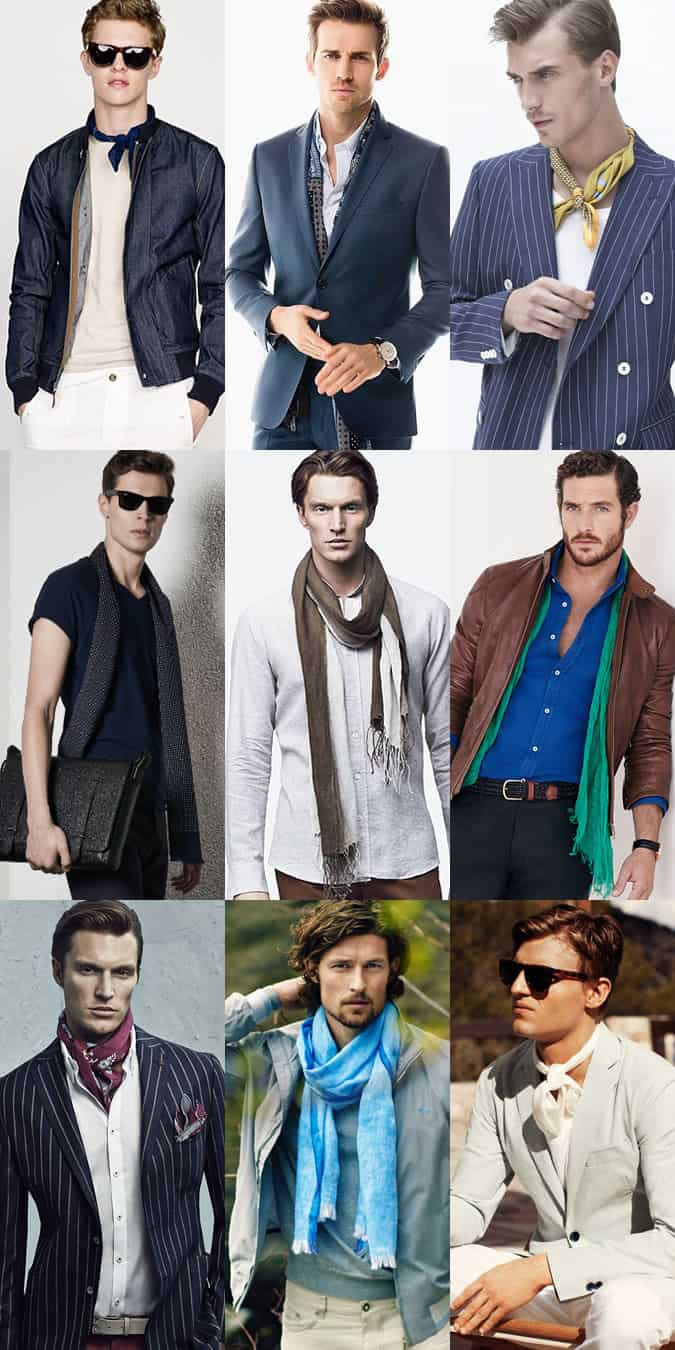 Men's Lightweight Scarves and Neckerchiefs - Spring/Summer Outfit Inspiration Lookbook
