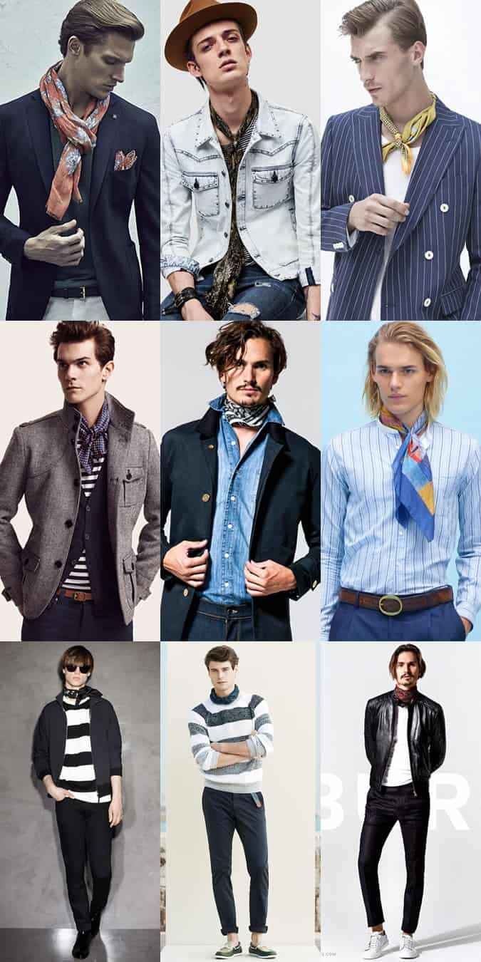 Men's Lightweight Scarves and Neckerchiefs Outfit Inspiration Lookbook
