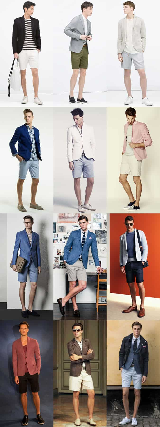 Men's Shorts and Blazer Combinations - Outfit Inspiration Lookbook