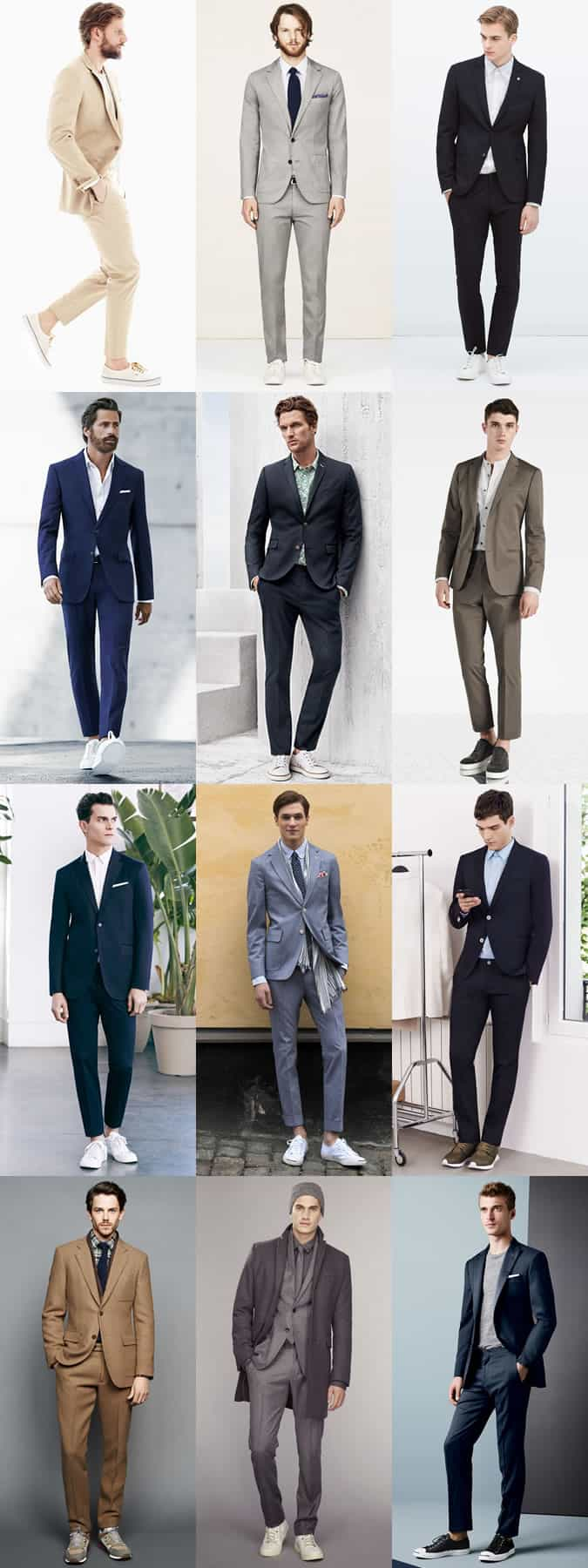 Men's Suits and Trainers Combinations - Outfit Inspiration Lookbook