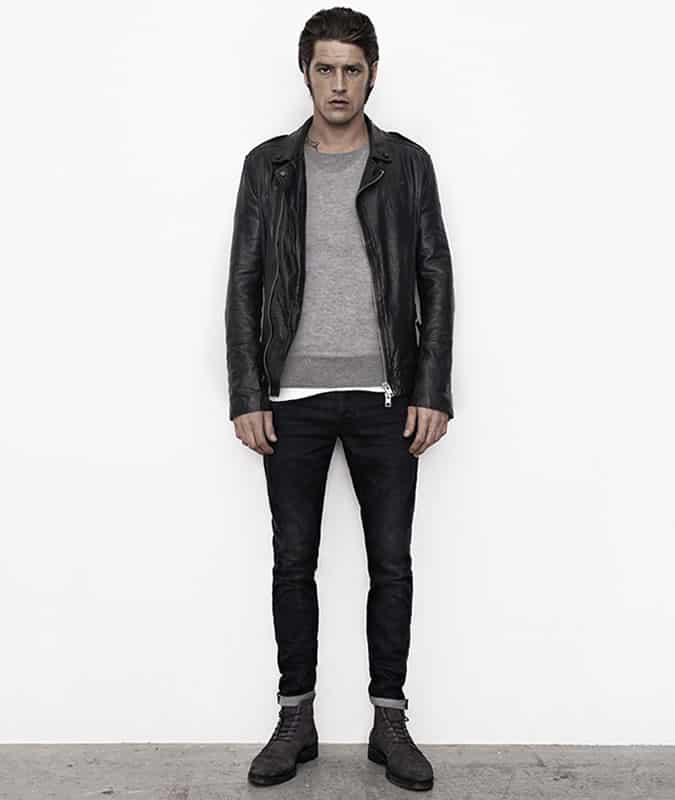 Men's Leather Biker Jacket Layered Over A Lightweight Knit/Jumper