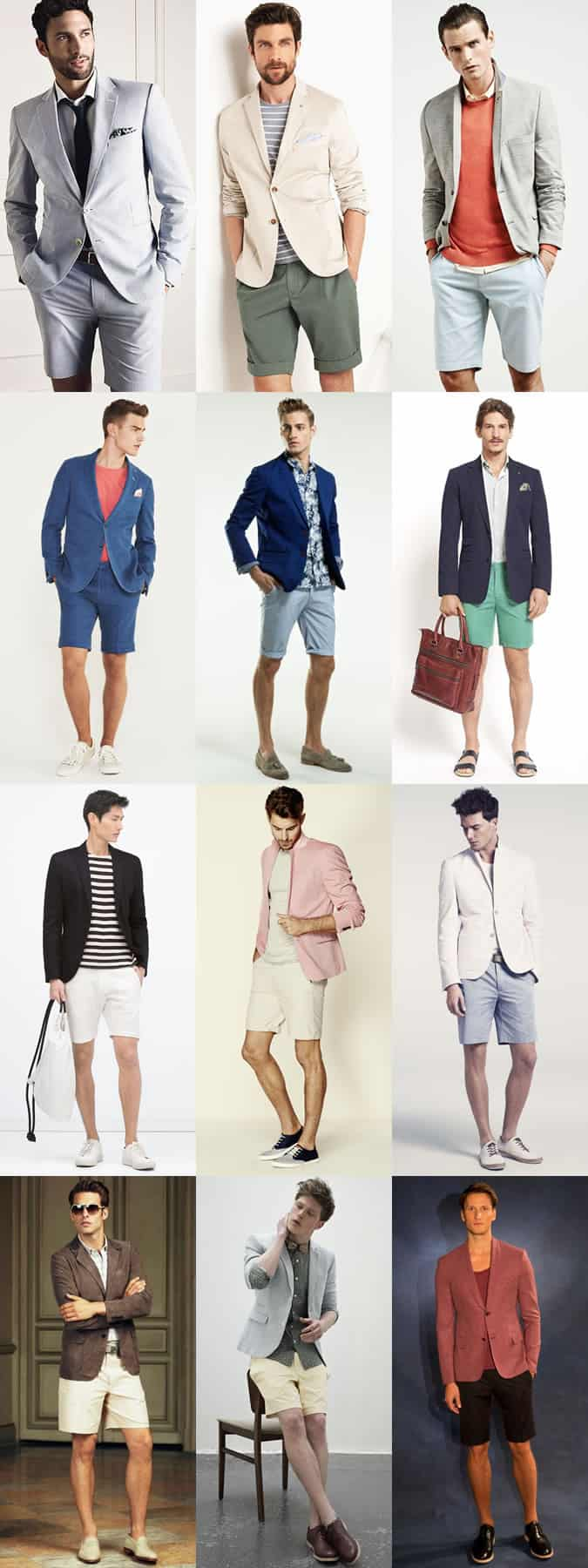 Men's shorts with blazers and short suits outfit inspiration lookbook