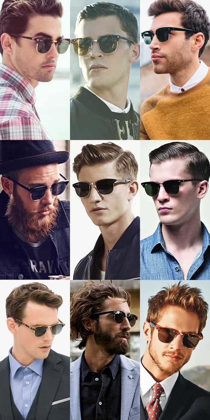 ray ban glasses on face  men's clubmasters sunglasses lookbook