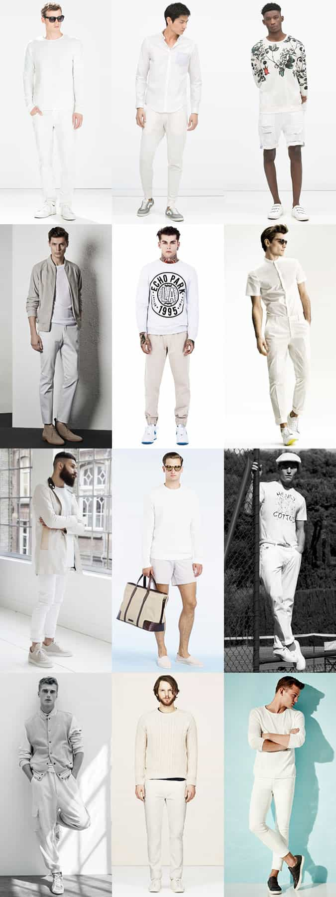 Men's White-On-White Sports Luxe and Casual Outfit Inspiration Lookbook