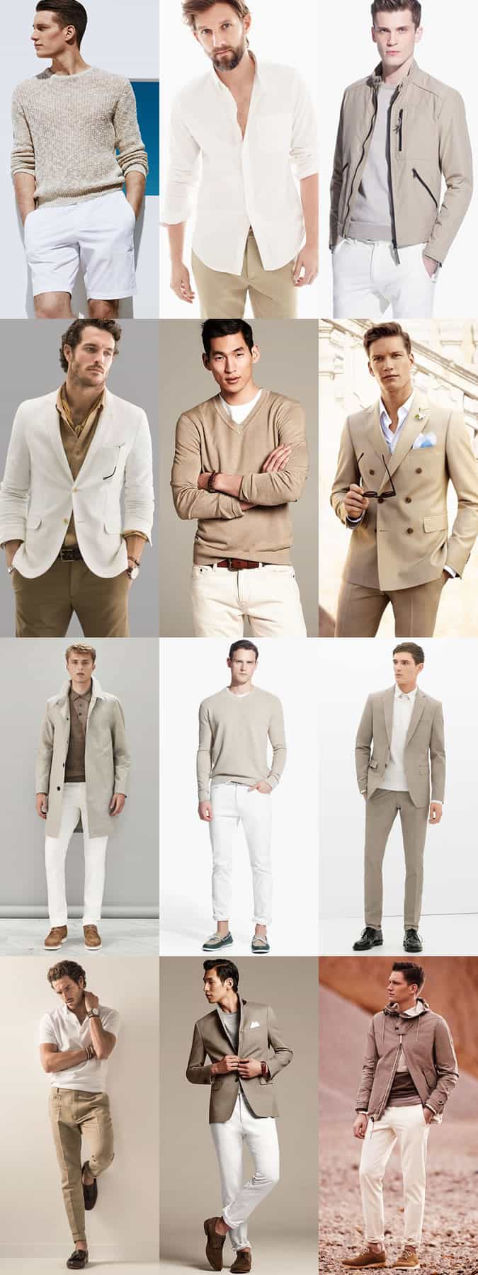 Men's Khaki and White Combinations - Spring/Summer Outfit Inspiration Lookbook