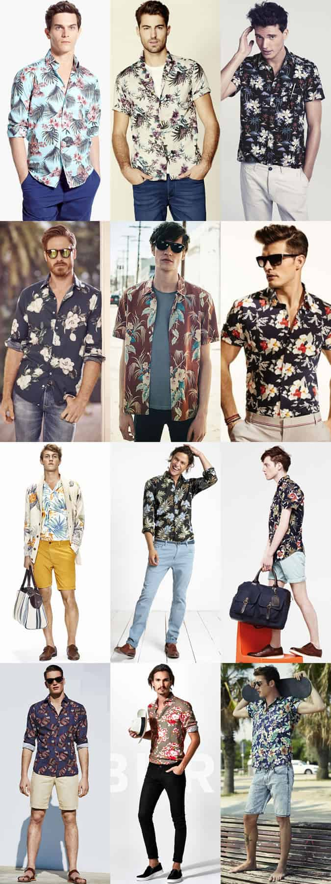 Men's Floral and Hawaiian Shirts Outfit Inspiration Lookbook