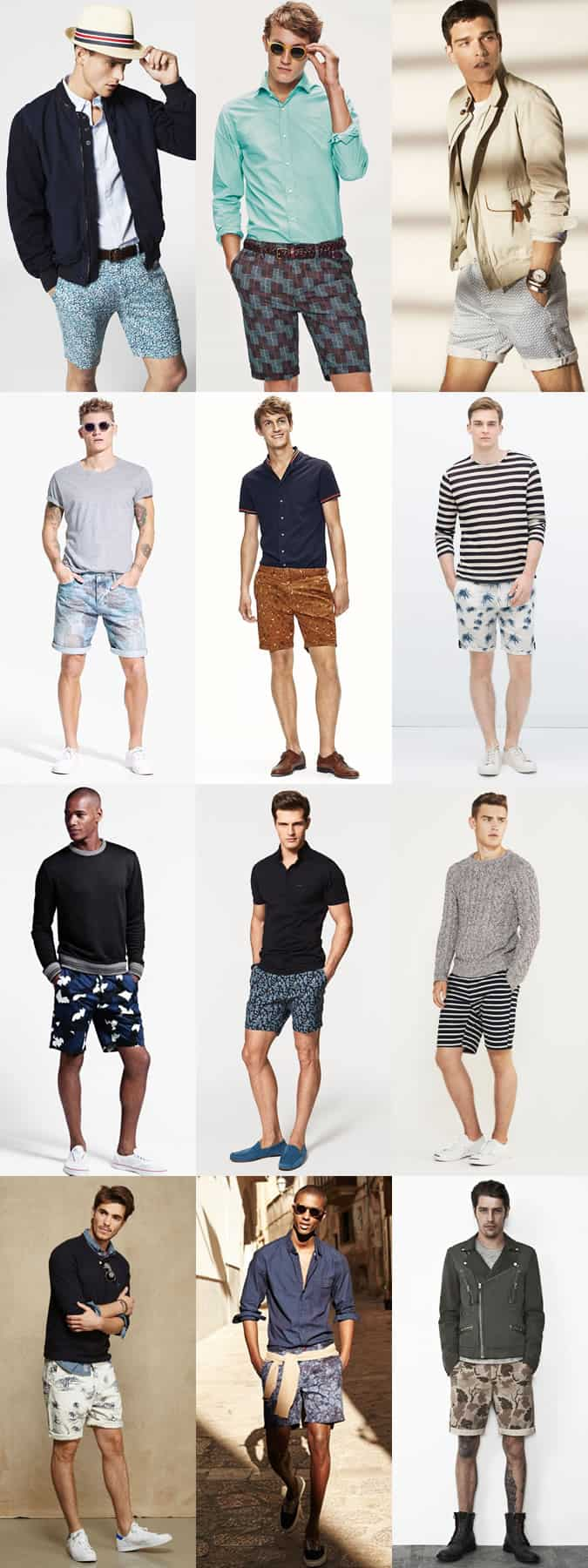 Men's Printed and Patterned Shorts Outfit Inspiration Lookbook