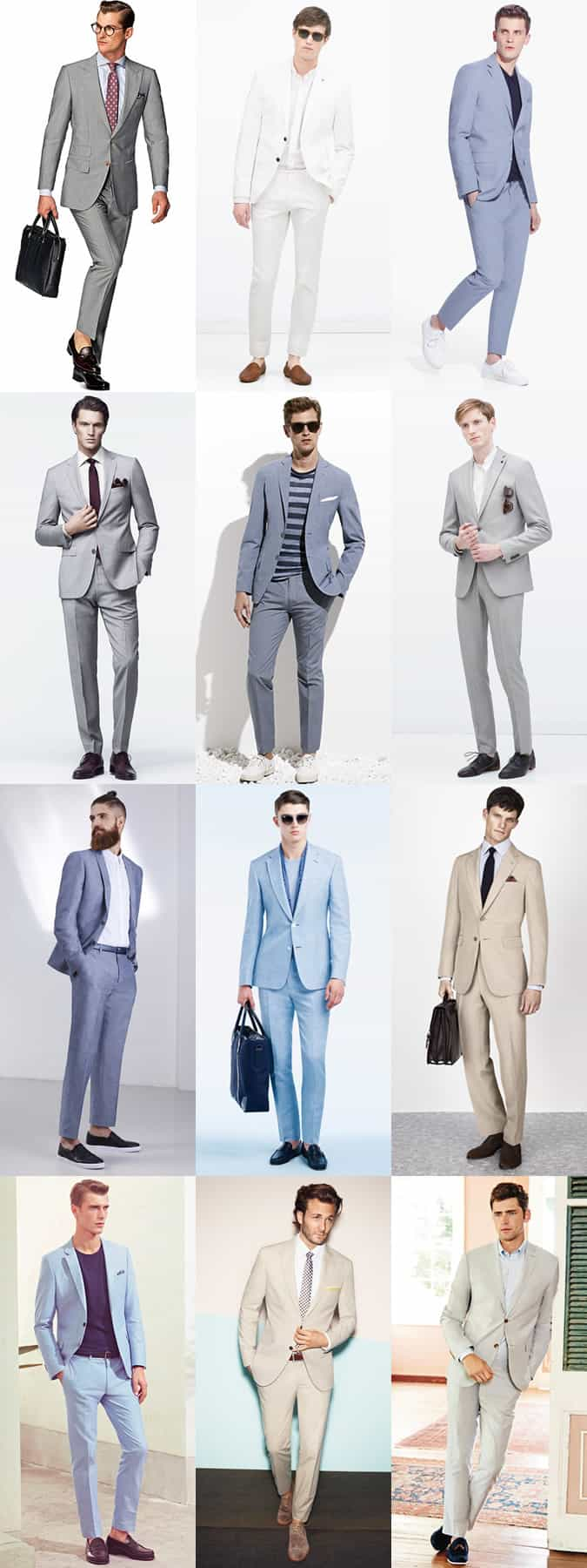Men's Light Coloured Suits In Pale Grey, Sky Blue and Beige - Summer Outfit Inspiration Lookbook