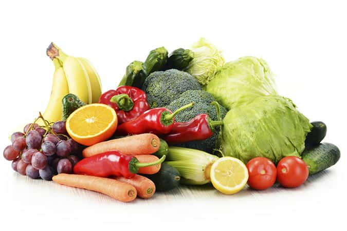 Fruit and vegetables are packed full of antioxidant vitamins A, C and E to help offset the damage caused by sun exposure