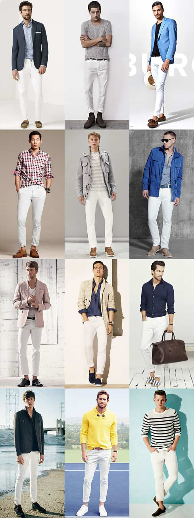 Men's White Jeans Outfit Inspiration Lookbook