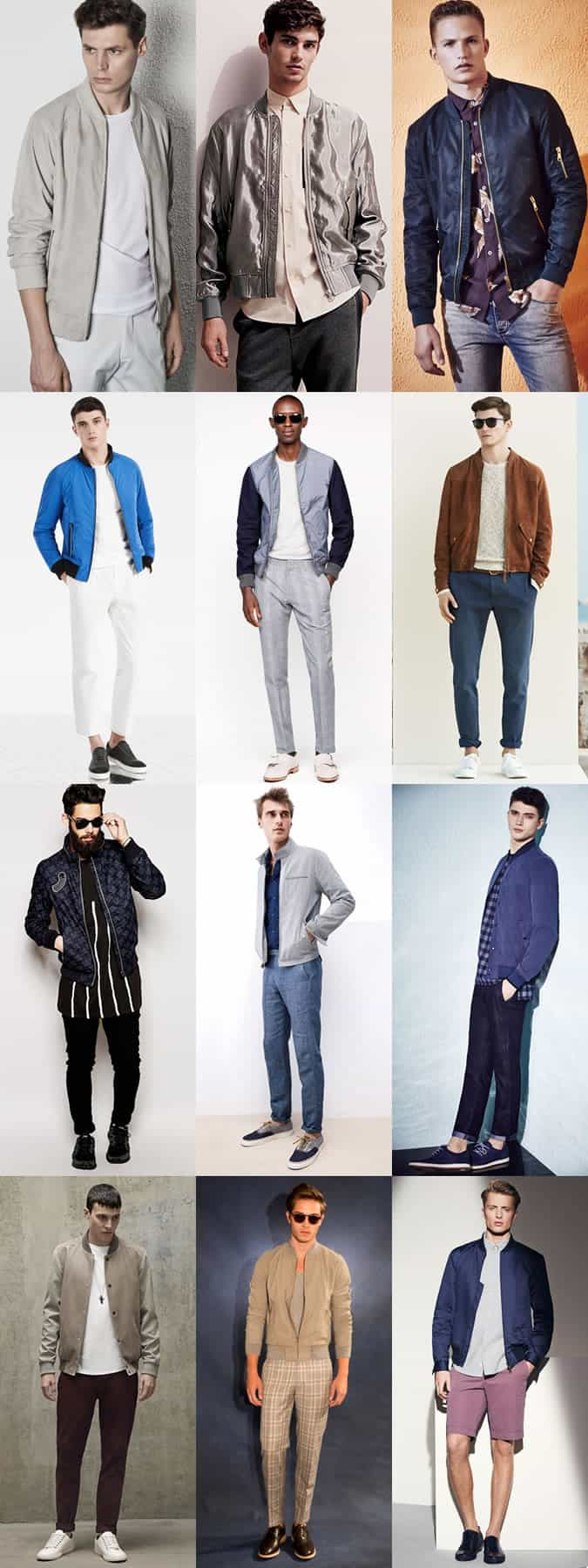 Men's Textured Bomber Jackets - Spring/Summer Outfit Inspiration Lookbook