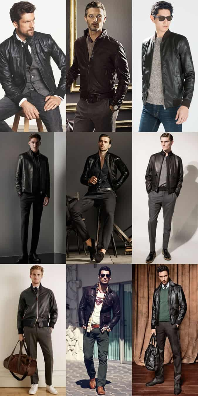 Men's Black and Brown Leather Bomber and Aviator Jackets Lookbook Inspiration