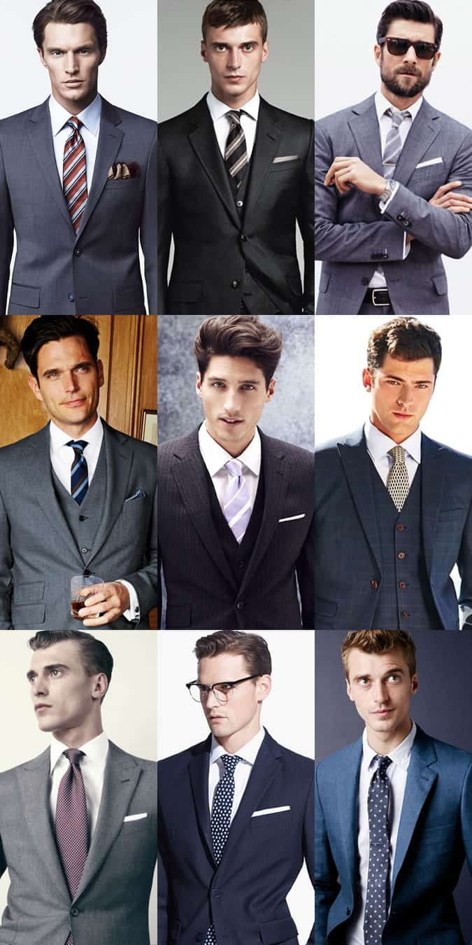 Men's Patterned Ties With White Shirt and Neutral Suit Lookbook Inspiration