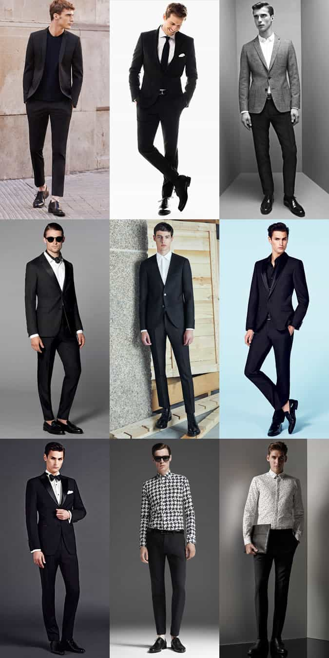 Men's Black Suits and Tailoring Outfit Inspiration Lookbook