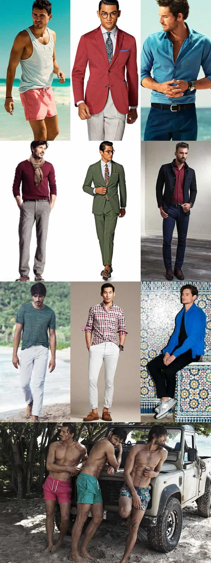 Colours That Match or Complement Olive/Medium Skin Men - Outfit Inspiration Lookbook