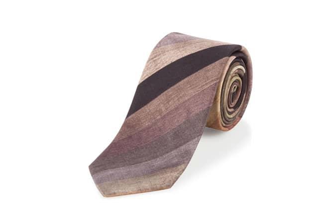 Paul Smith Ties - Brown Muted Stripe Narrow Silk Tie
