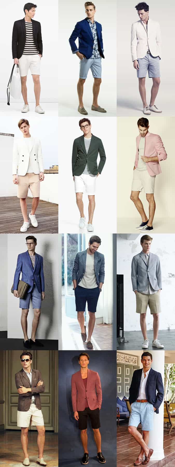 Men's Summer Shorts and Blazer Combination Outfit Inspiration Lookbook