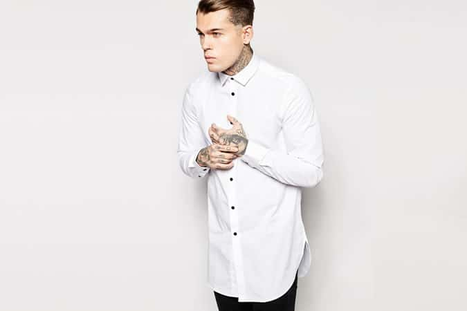 ASOS Shirt In Super Longline With Contrast Buttons