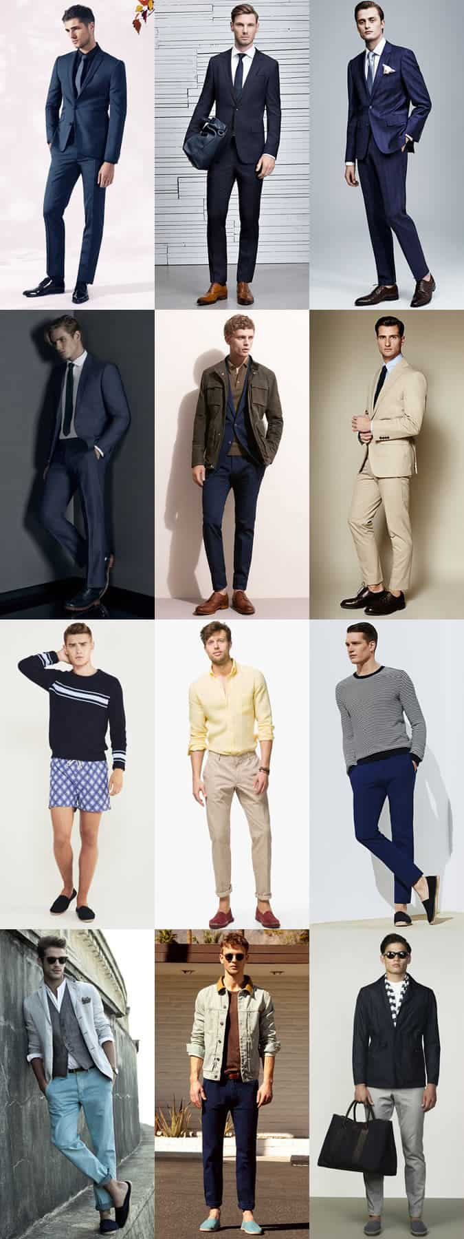 Men's Smart Leather Brogues, Oxfords and Derbies with Suits / Plus Espadrilles In Summer Outfits