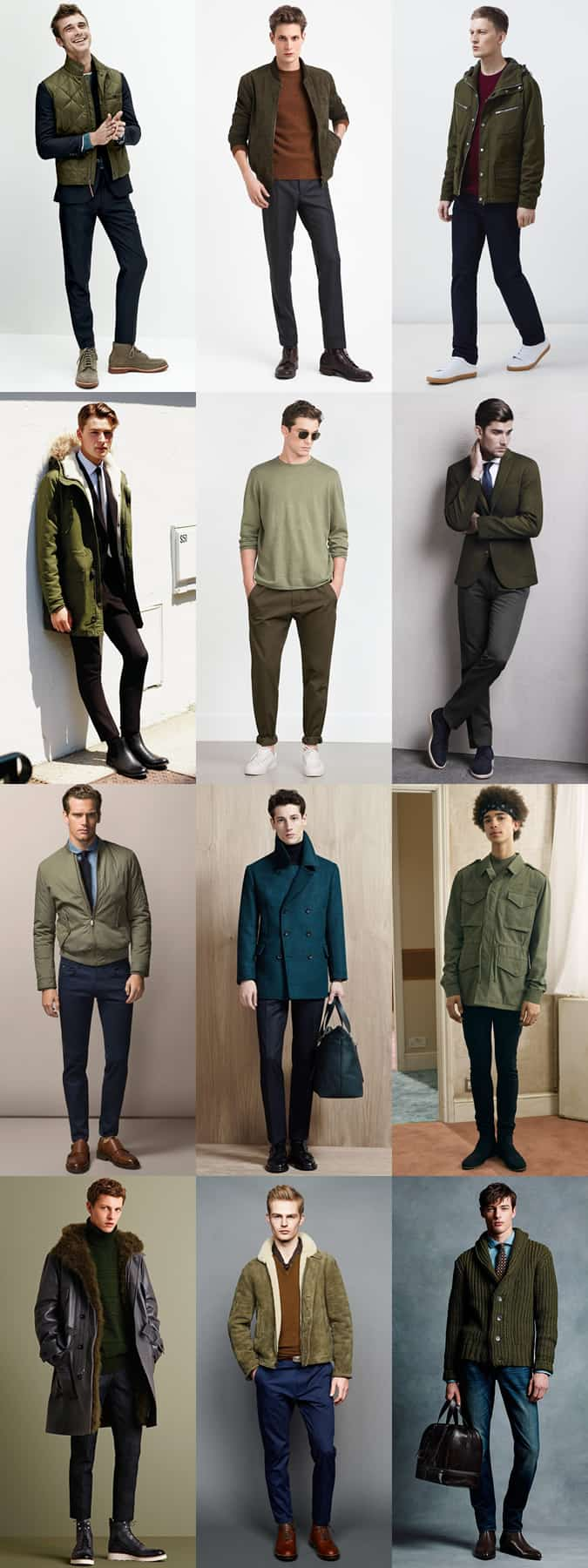 Men's Subdued/Military Green Clothing Outfit Inspiration Lookbook
