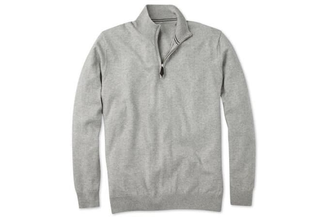 Silver Grey Cotton Cashmere Zip Neck Jumper