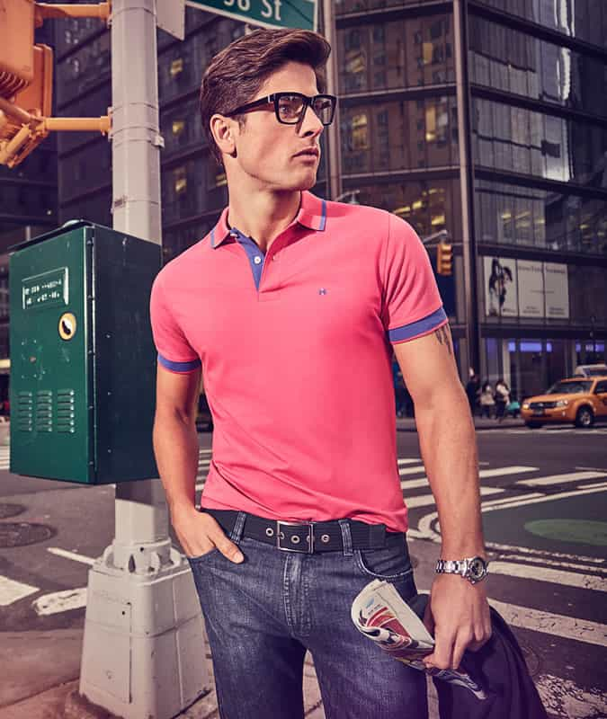 Men's Pink Polo Shirt With Dark Jeans