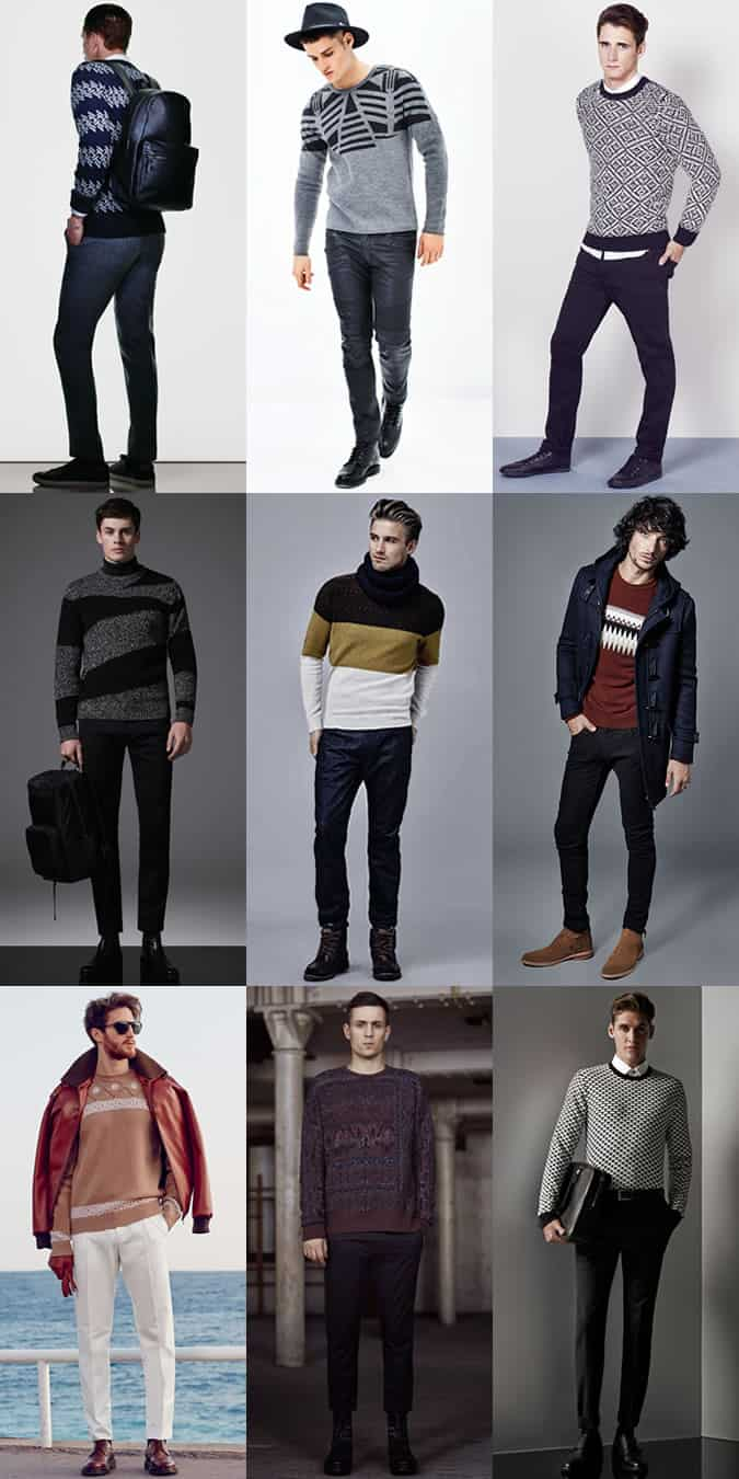Men's Graphic/Patterned Knitwear Outfit Inspiration Lookbook