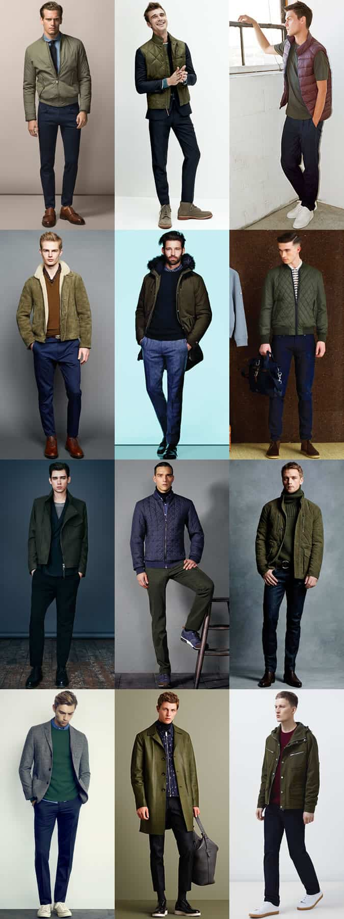 Men's Blue and Green Colour Combination Outfit Examples Lookbook