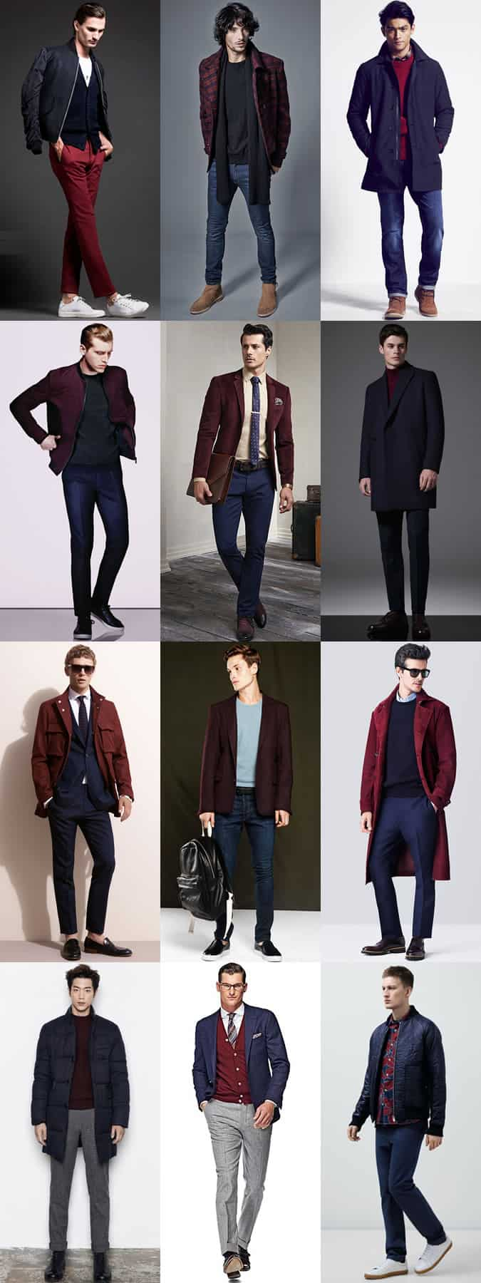 Men's Navy and Burgundy Colour Combination Outfit Examples Lookbook