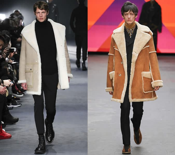 Long Shearling Coats On Topman Design And Neil Barrett AW15 Runways