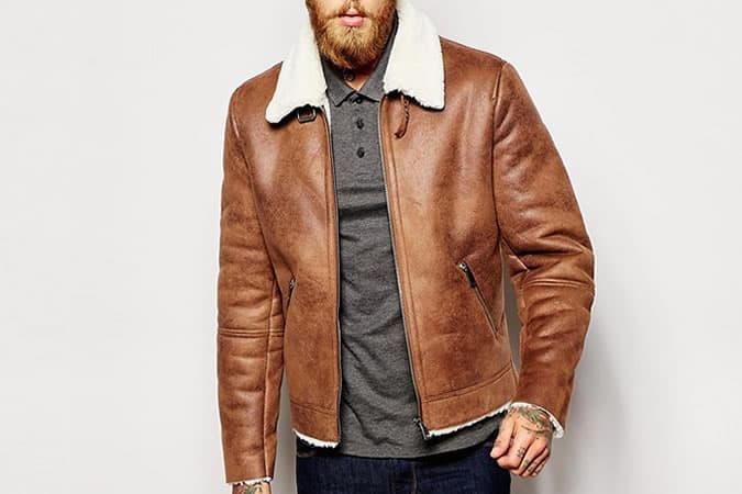 Mens Suede Sheepskin Jacket - Coat Nj