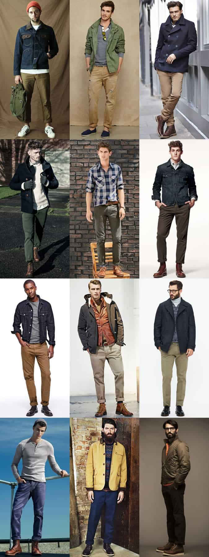 Men's Heavyweight Twill Chinos Outfit Inspiration Lookbook