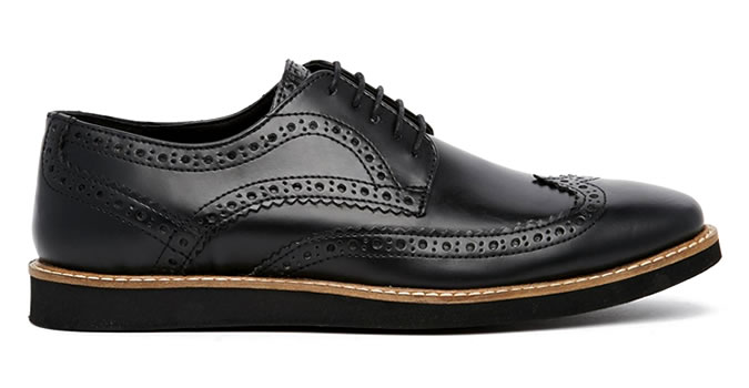ASOS Brogue Shoes in Black Leather With Wedge Sole