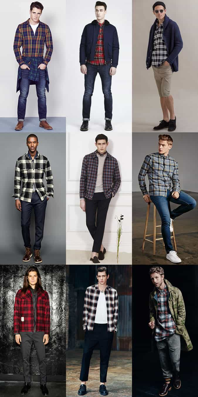 Men's Plaid/Check Flannel Shirts Outfit Inspiration Lookbook