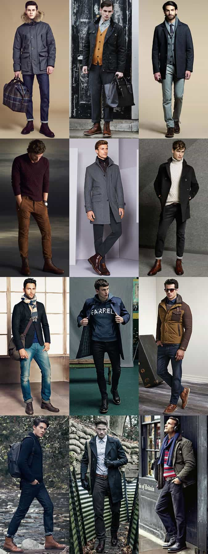 Men's Leather Brogue Boots Outfit Inspiration Lookbook