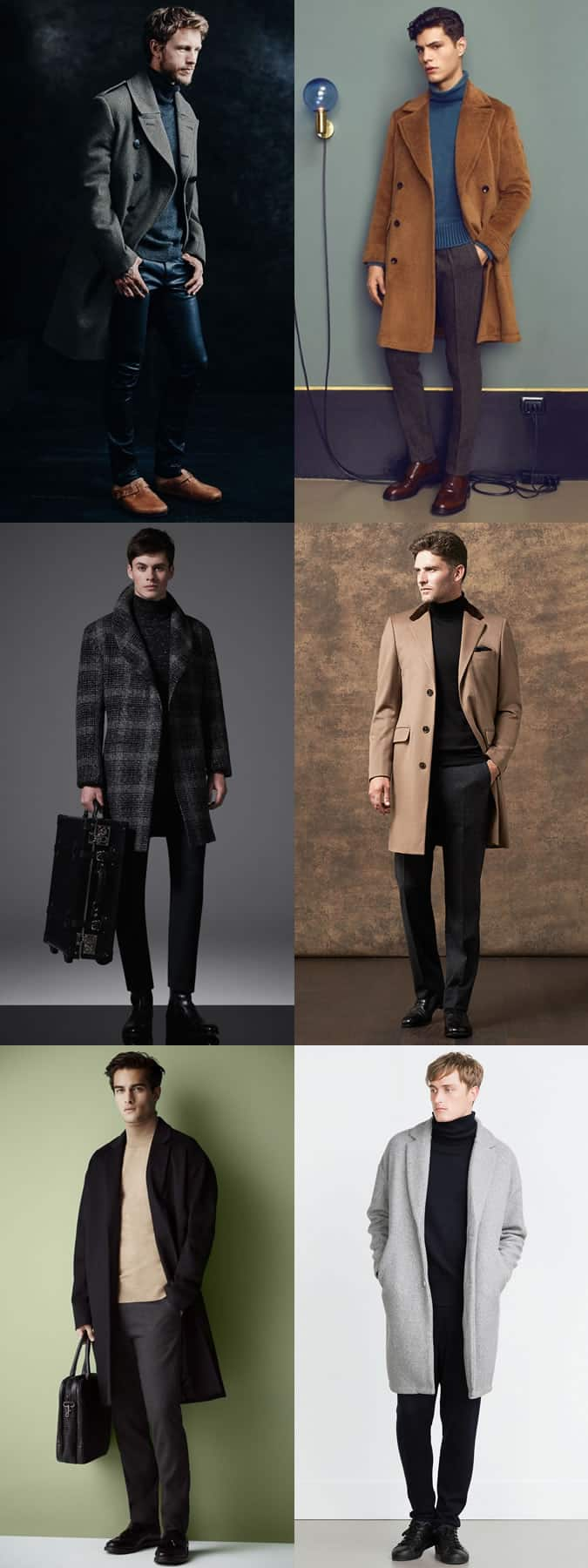 Men's Roll Necks With Overcoats Outfit Inspiration Lookbook