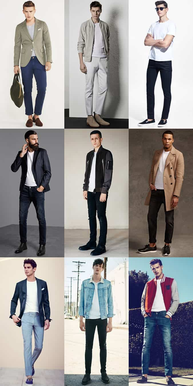 Men's Crew Neck T-Shirts Outfit Inspiration Lookbook