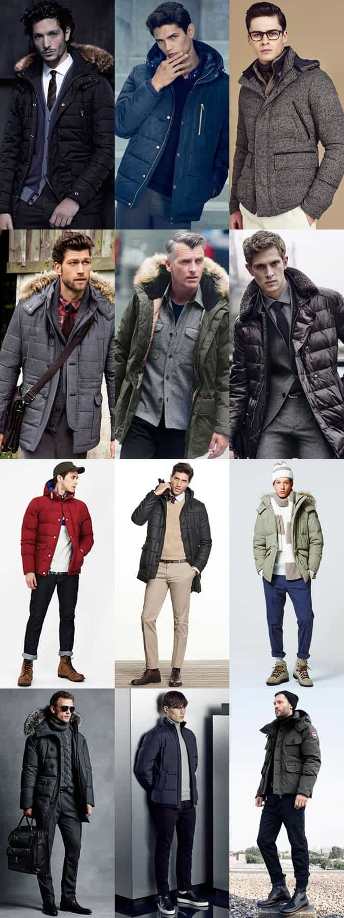 Men's Down-Filled Coats Outfit Inspiration Lookbook