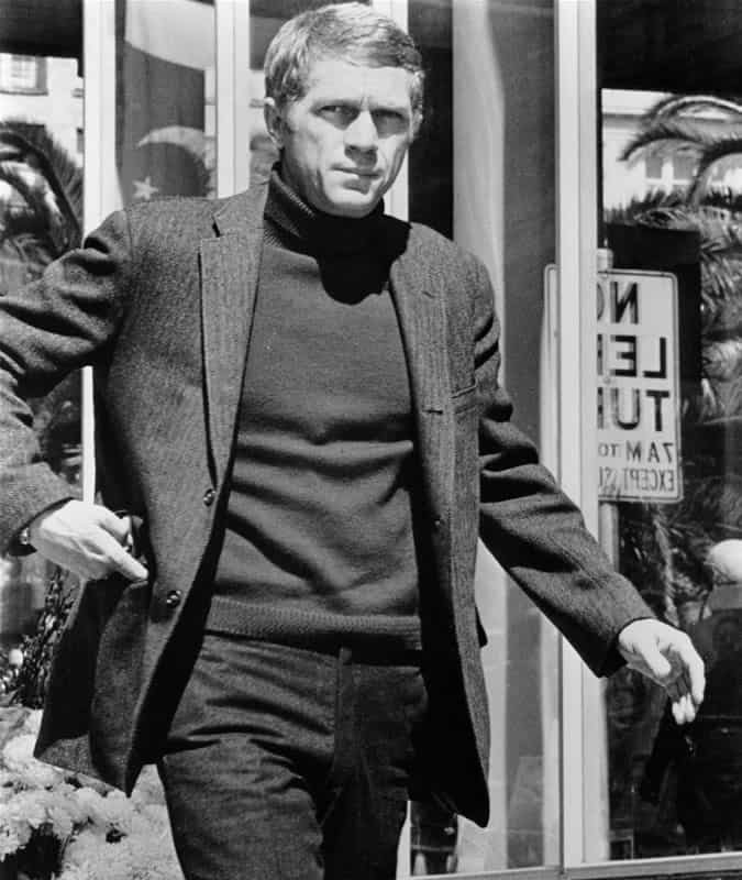 Steve McQueen wearing a roll neck as Frank Bullitt in Bullitt