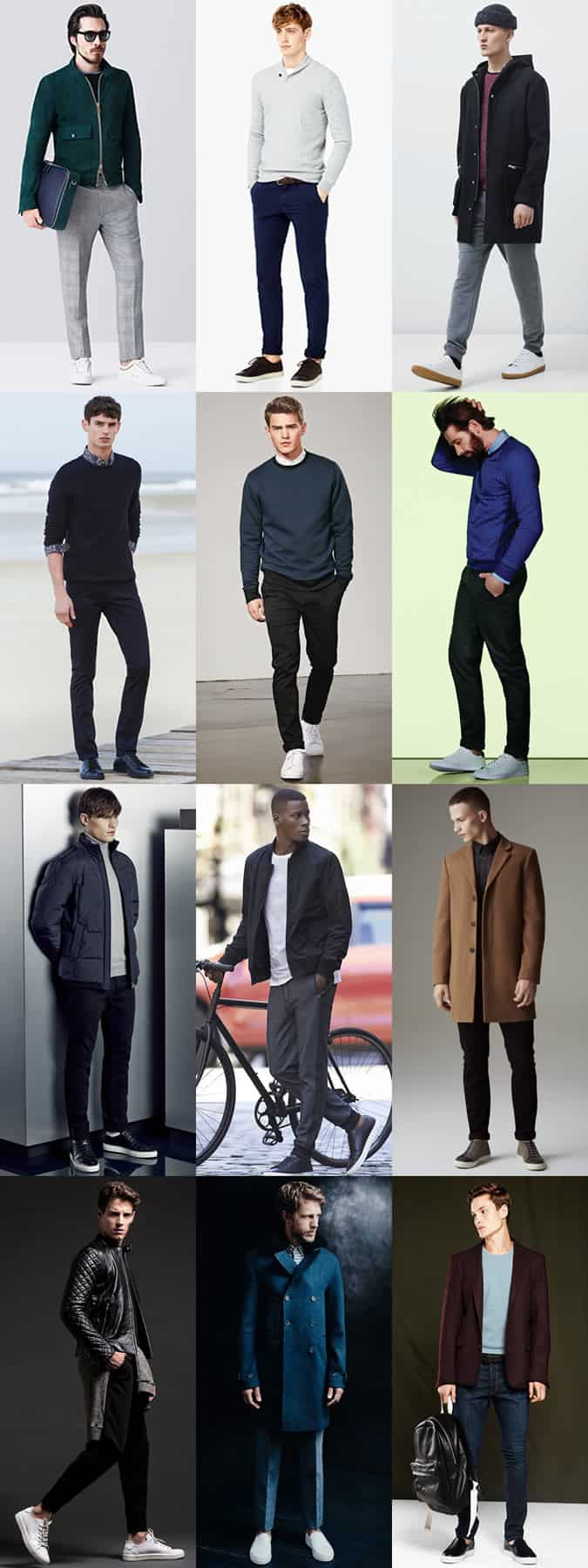 Men's Minimal Leather Low Top Trainers Outfit Inspiration lookbook