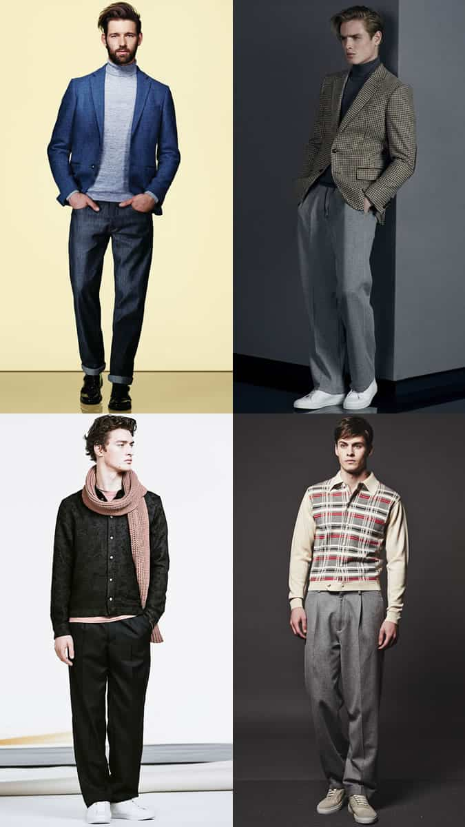Men's Wide-Leg Trousers and Jeans Outfit Inspiration Lookboook