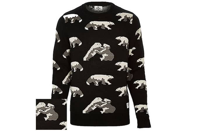 Black Bellfield Polar Bear Intarsia Jumper