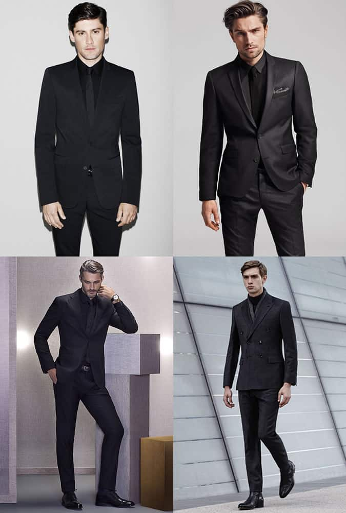 Men's All Black Evening/Formalwear - Monochrome (Black and White) Outfit Inspiration Lookbook