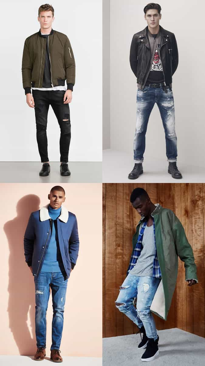 Men's Distressed/Slashed/Ripped Jeans Outfit Inspiration Lookbook