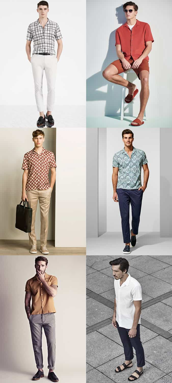 Men's Short-Sleeved Cuban Collar Shirt Outfit Inspiration Lookbook SS16