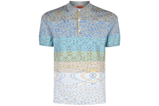 Missoni Fine Stripe Knit Polo Shirt