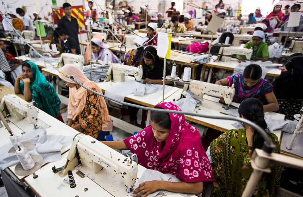 Workers in a Bangladeshi clothing factory