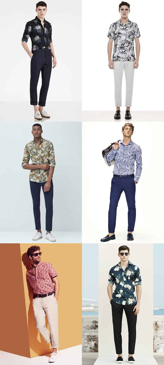 Men's Chinos with Floral Shirts - Spring/Summer Outfit Inspiration Lookbook